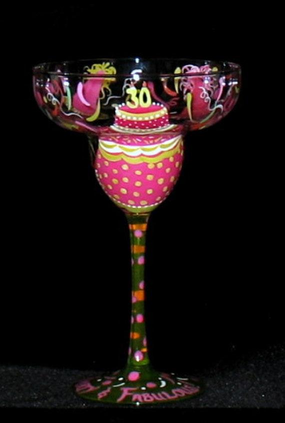 Personalized Milestone Birthday Margarita Glass Pinks