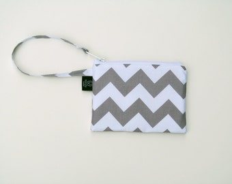 New Gray Chevron Wristlets  Ready to ship cell phone, iphone, camera gadget bag