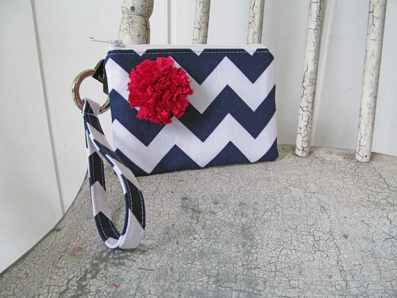 New Navy Chevron Wristlets accented with fuchsia flower Ready to ship cell phone, iphone, camera gadget bag