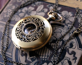 Brass Mechanical Pocket Watch 5 -on Fob or Necklace