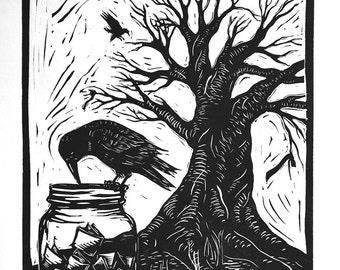 Crow and mason jar - Linocut print