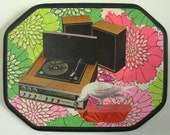 SALE-Turntable Stereo & Bird Collage on Wood