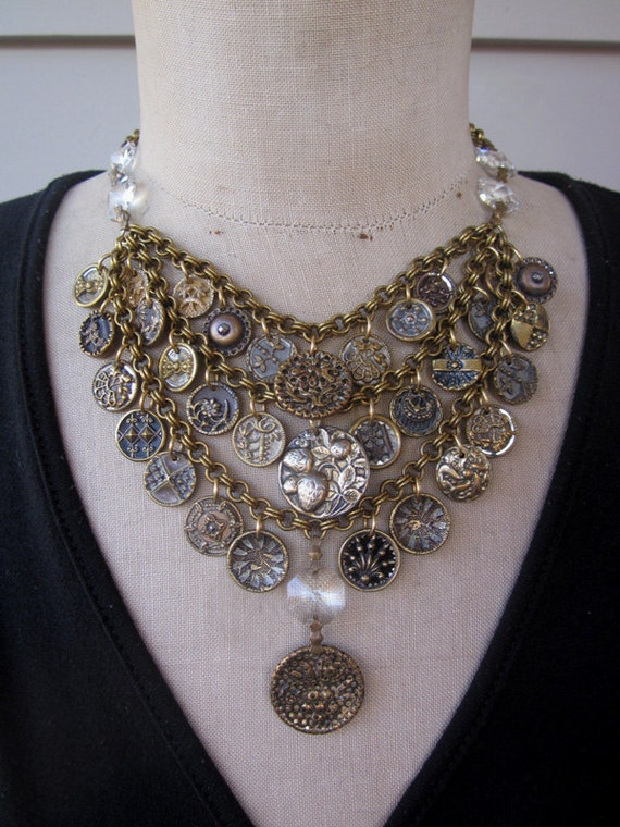 Vintage Button Necklace, Steampunk Necklace - Victorian Fancy FREE SHIPPING