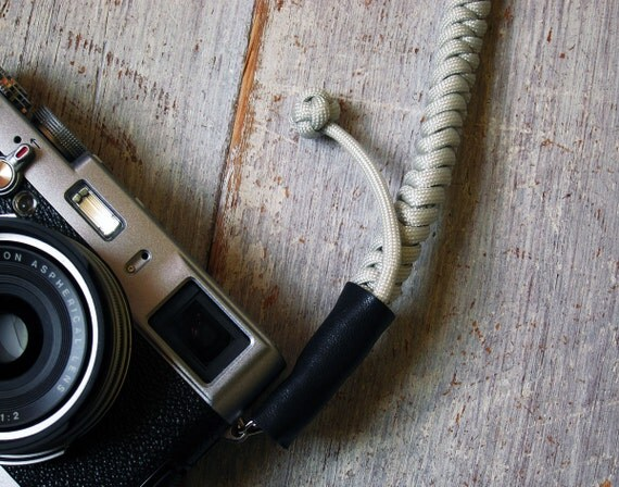 Bespoke Camera Strap Hand knotted - Pale Gray Grey - Strong, Beautiful and Unique