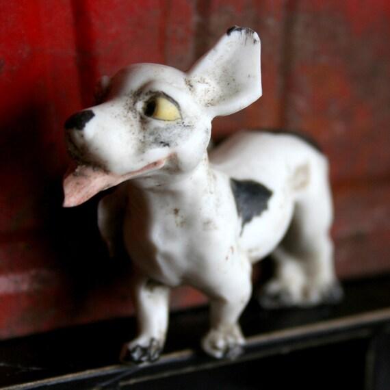 Vintage German Bisque ADORABLE Dug Up PAINTED Animal Figure Frozen Charlottes Pet DOG 122g2z