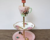 coral flower 3 tier antique jewelry stand
