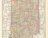 old map of Indiana from a  1904 encyclopedia, a digital printable map no. 300