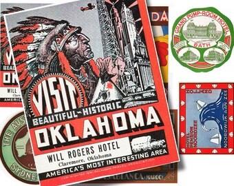 vintage printable luggage labels, digital collage sheet no. 231.