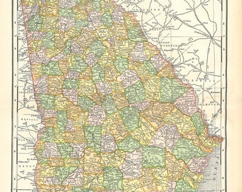 map of Georgia, a vintage printable digital map no. 100