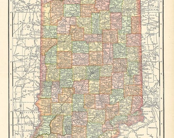 map of Indiana from a  1904 encyclopedia, a digital printable map no. 300