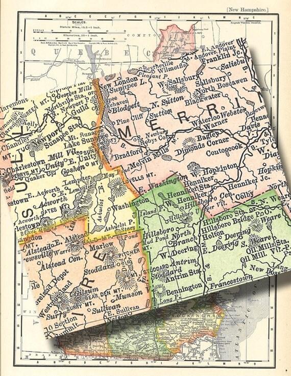 Map of new hampshire a vintage printable digital no