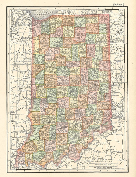 Bewitching image for printable map of indiana