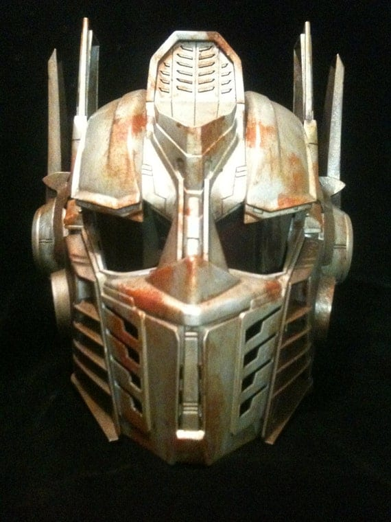 Steampunk Optimus Prime Helmet Transformers  Life Size Cosplay  Battle damaged Copper