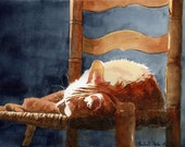 Orange Marmalade Ginger Tabby Cat Art Print of my watercolor painting Giclée
