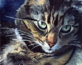Maine Coon Tabby Cat Art Print of my watercolor painting Reproduction Big Huge Large Gift for Girl Cat Lover Unique