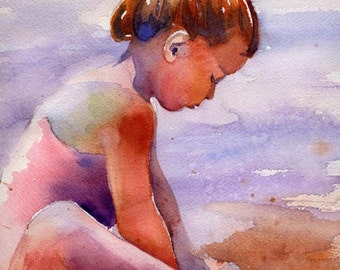 Girl art Child Children Girl Ocean Sea Beach Landscape art Print of my Watercolor Painting