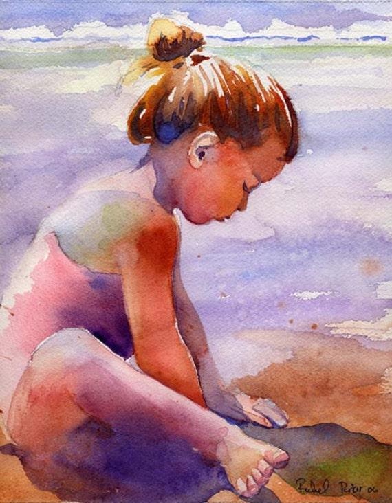Girl art child children girl ocean sea beach landscape art for Paintings of toddlers