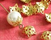 Top Quality 25pcs Raw Brass Flower Bead Caps KK-B505-C