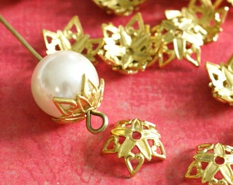 Top Quality 25pcs Raw Brass Flower Bead Caps KK-B505-C