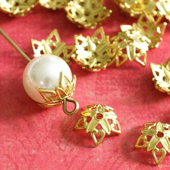 Wholesale Top Quality 100pcs Raw Brass Flower Bead Caps KK-B505-C