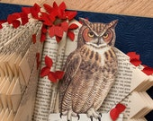SALE - Great Horned Owl One of a Kind Altered Book
