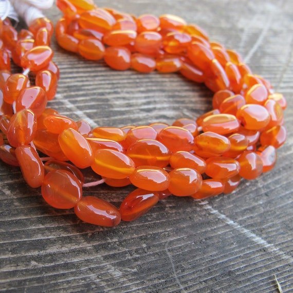 DESTASH CARNELIAN Organic Oval Shape Bead Strand 14 inches