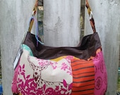 SHOP Closing FREE Shipping Japanese Echino Deer patchwork linen pink colors Hobo Slouch Bag
