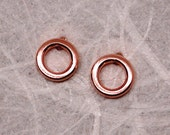 5mm Tiny Circle Studs 14k Brushed Rose Gold Earrings Blush Pink by SARANTOS