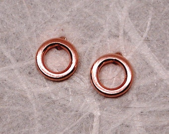 5mm Soft Blush Pink Circle Hoop Earrings 14k Brushed Rose Gold Studs by Susan Sarantos