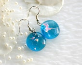 Aqua Dangle Earrings in Dichroic Fused Glass ER078 - GetGlassy