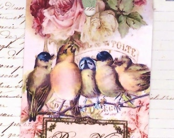 Gift Tags , Pour Vous , Vintage Birds and Roses
