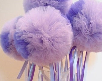 Tulle Wands MINI Wishing Wands In Your Color Set of 6 Birthday Party Favors