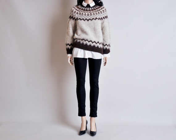fair isle wool nordic sweater / s / m