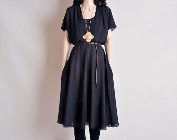 black sheer deep v flutter slv dress / s / m / raven dress
