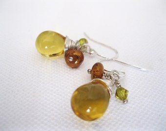 Yellow Amber Glass Briolette and Sterling Silver Earrings - UK Seller