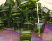 SALE Swarovski 8mm Olivine Cube Bead 5601