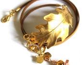Gold Leather Wraparound Bracelet with Oakleaf Cuff FREE Postage anywhere