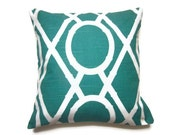 Decorative Pillow Cover Turquoise White Lattice Design Toss Throw Accent  16 inch