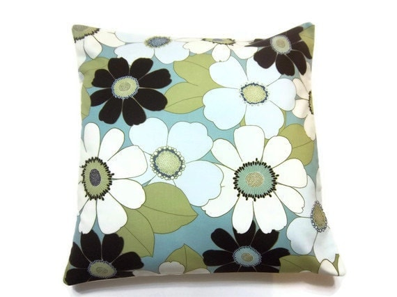 Two Aqua Turquoise Olive Cream Brown Blue Pillow Covers Big Flower Design Toss Throw Accent Covers 16 inch