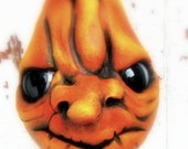 Halloween Pumpkin Decoration OOAK  Scarey  Ornament Angry Gourd