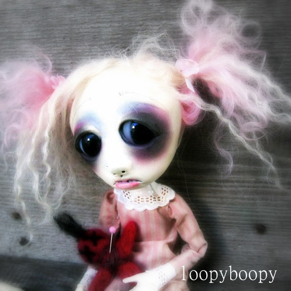 Loopy Gothic Art Doll OOAK Kawaii Doll Eugenia RESERVED for A