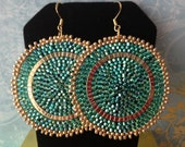 Beaded Earrings - Big Bold Emerald Green Seed Bead Disc Earrings
