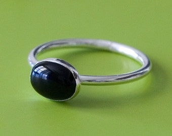 Oval Black Onyx Stacking Ring 6x8 mm, Sterling Silver Ring, Size 2 to 15, Solitaire Ring, Womens Ring, Onyx Gemstone Ring, Gift for Her