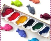 Kids' FISH CRAYONS, Coloring Party Favors Set of Six (6) Eco-Friendly Toys Asst Colors, For Boys & Girls, Free Gift Box