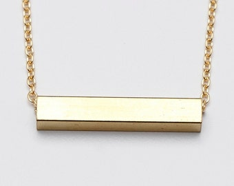 Minimalist Haber Geometric Gold Bar Necklace // Perfect Spring Birthday Gift for Her