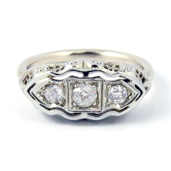 14K 18K Antique Art Deco Three Stone European Cut Diamond Filigree Ring