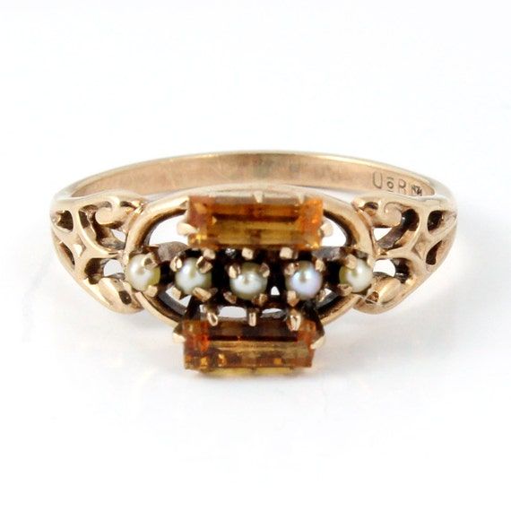 Rose Gold Antique Ostby Barton Art Nouveau Victorian Citrine and Seed Pearl Ring