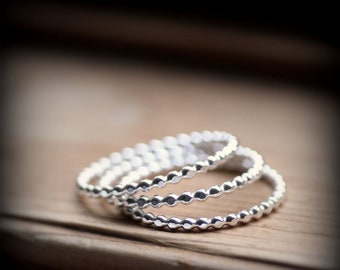 Dotted rings trio - recycled sterling silver rings