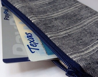 Zippered Coin Purse Wallet - Fabric Business Card Holder - Navy Natural Linen Stripes