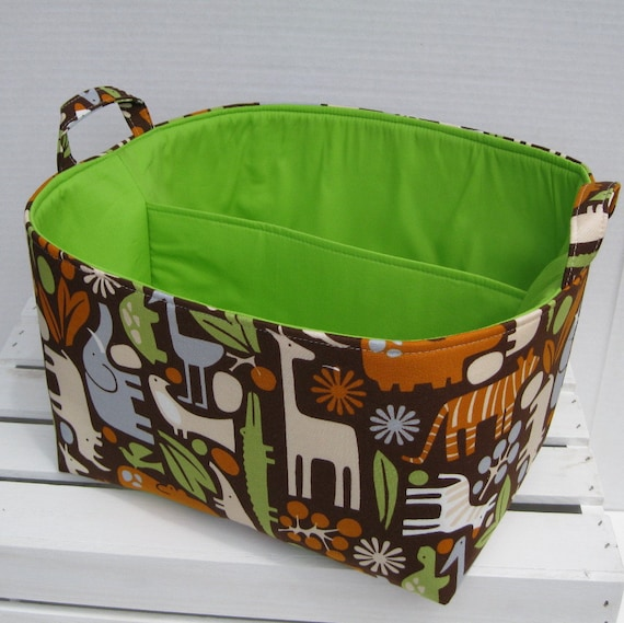 READY TO SHIP - 2D Zoo in Chocolate - Diaper Caddy - Storage Container Organizer Bin Basket - 1 Separator - 2 Compartments  -